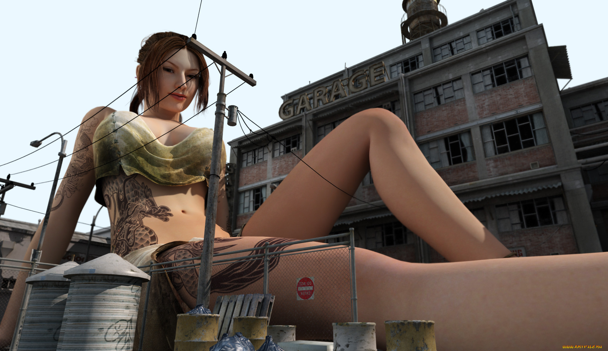 Giantess woman 3d pron image